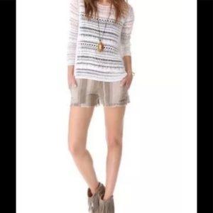 Free People linen blend frayed hem shorts 6